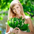 Portrait of young beautiful smiling woman outdoors — Stock Photo #11939289