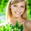 Portrait of young beautiful smiling woman outdoors — Stock Photo #11939334