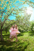 Twins in pink doll style — Foto Stock