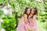 близнецы в стиле розовая кукла — Стоковое фото