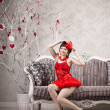 Stock Photo: Woman in red