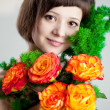 Woman with flowers — Foto de Stock