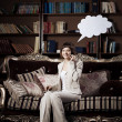 Woman with blank of thought and speech, talking  bubble — Stockfoto