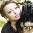 Witch with a strange cage — Stock Photo #11944006