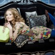 Beauty womin luxurious sofwith handbag — 图库照片 #11944448