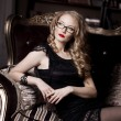 Stylish luxury woman in glasses — Stok fotoğraf