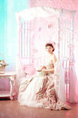Romantic woman in a vintage dress — Stock Photo