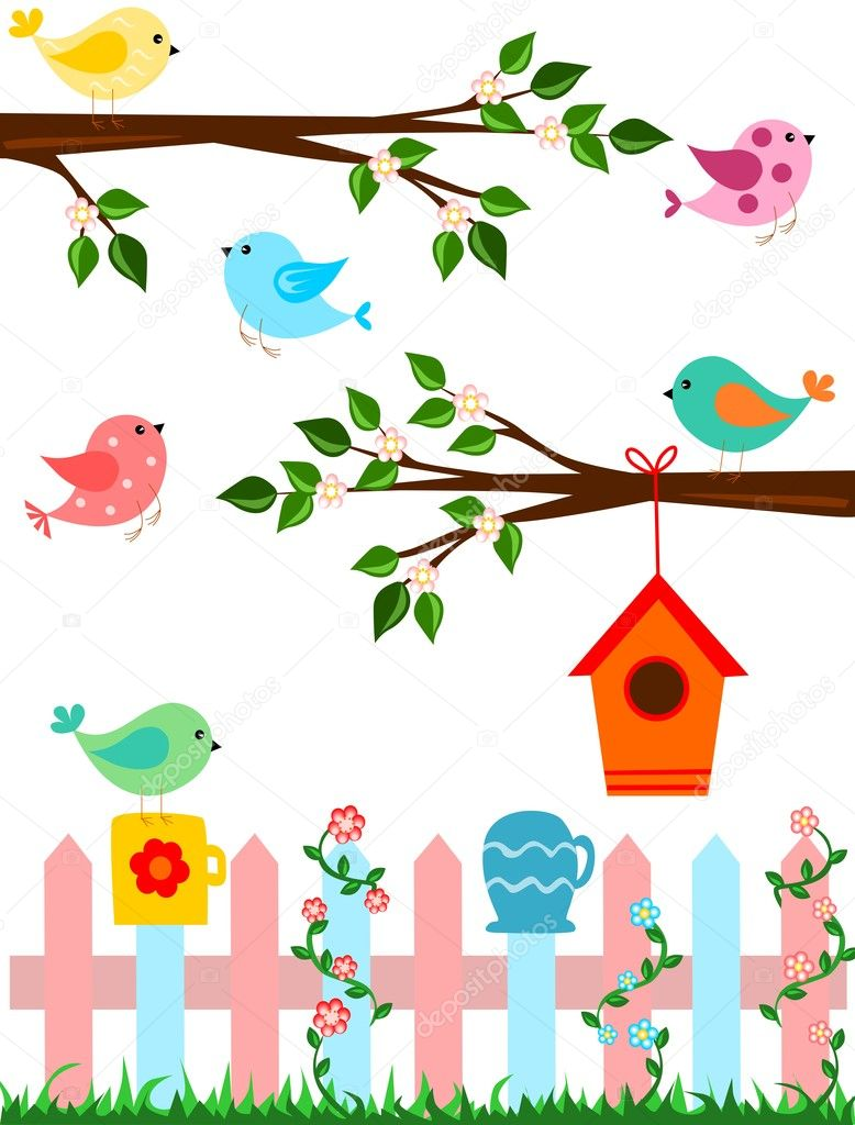 Cartoon illustration of birds with flowers, birdhouse and fence — Stock Vector #11531861