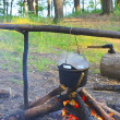 Cooking fish soup on the fire — Stock Photo