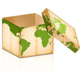 Open old box with world map on it — Stock Photo