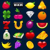 Kleurrijke slotmachine pictogrammen — Stockvector