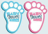 Baby Feet Invitation Cards — Stock Vector