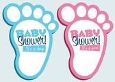 Baby Feet Invitation Cards — Stock Vector