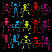 Colorful Dancing Skeletons — Stock Vector