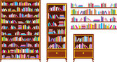 Set of bookcases and shelves — Stock Vector
