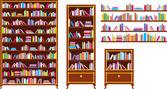 Ensemble de bibliothèques et étagères — Vecteur