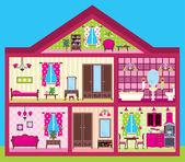 Dom dla dziewczyny w cięcia — Wektor stockowy