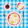 Royalty-Free Stock Vector Image: Fried eggs in a plate, coffee and bread