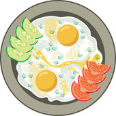 Fried eggs with vegetables — Stock Vector