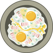 Fried eggs with bacon — Stock Vector