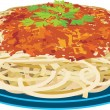 Spaghetti in a plate — Stock Vector