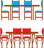 Set of dining tables and chairs — Stock Vector