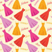 Seamless summer dresses pattern — Stock Vector