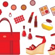 Set of red accessories — Stock Vector #11859137