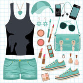 Youth fashionable set — Stock Vector