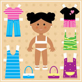 Paper doll with clothes set — Vector de stock