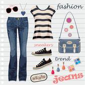 Jeans moda set — Vector de stock