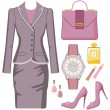 Fashion set from a female suit, accessories and cosmetics — Stock Vector