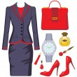 Fashion set from a female suit, accessories and cosmetics - Imagens vectoriais em stock