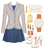 Fashion set from a female suit, accessories and cosmetics — Cтоковый вектор