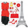 Fashion set with the Eiffel Tower - Imagens vectoriais em stock