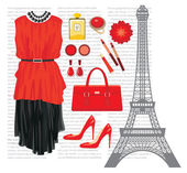 Fashion set with the Eiffel Tower — Stock Vector