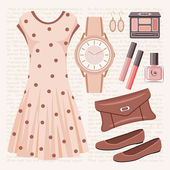 Fashion set in pastel tones with a dress — Stock Vector