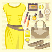 Fashion set with a casual dress — Stock Vector