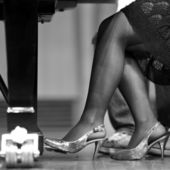 Pedal of piano on concert — Stock Photo