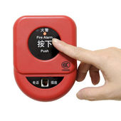Press fire alarm button with isolated background — Stock Photo