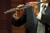 Flutist on concert — Stock Photo