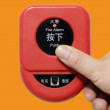 Press fire alarm button with isolated background — Stock Photo #10851039