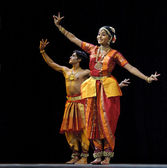 Indian Kalakshetra dancers — Stock Photo