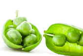 Fresh green pea pod and peas — Stock Photo