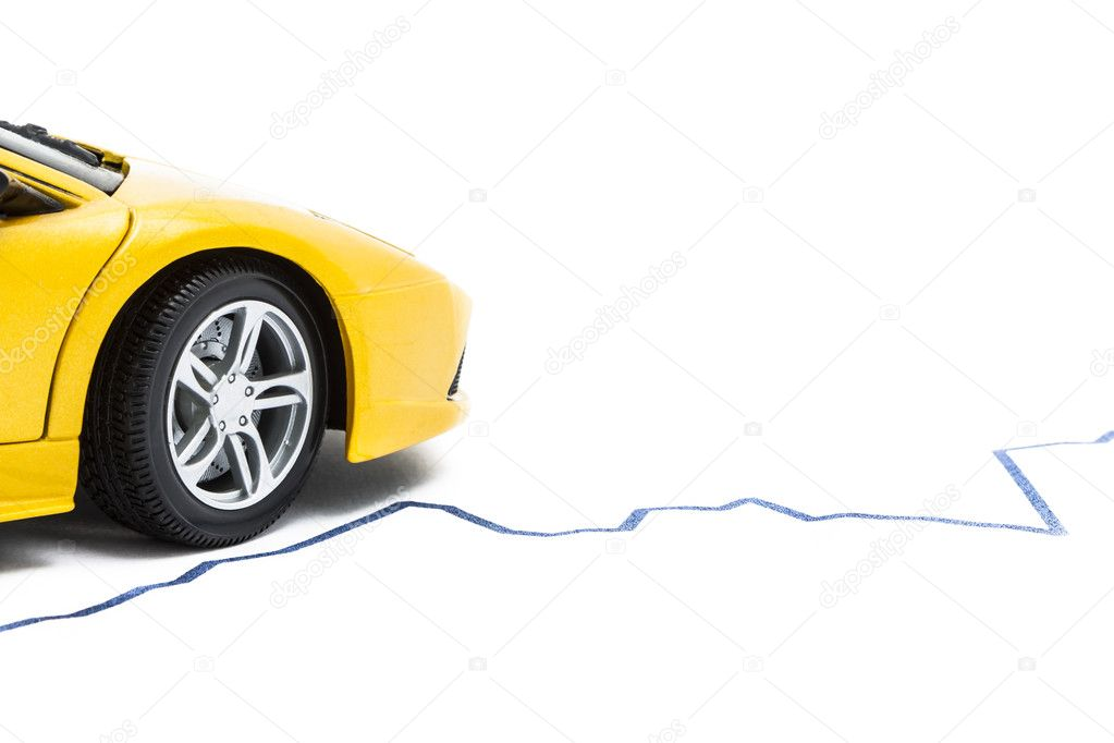 A car positioned on a rising blue graph isolated on white  Stock Photo #11730490