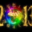 图库照片: Happy new year 2013 - Europe, Africa, Asia
