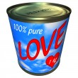 Can of 100 percent pure love 1 kg — Stock Photo