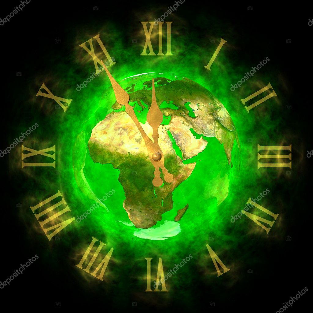 Illustration of green planet Earth and cosmic clock. Theme of good future on Earth. Europe. — Stock Photo #10955698