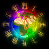 Cosmic clock - optimistic future on Earth - Europe — Stock Photo