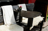 Outside table of cafe — Stock Photo